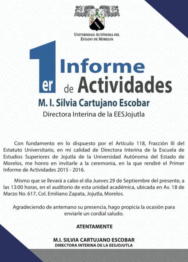 Primer informe de actividades - Universidad Autónoma del Estado de ...